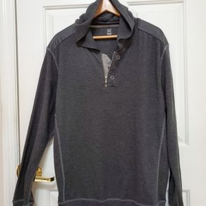 NWOT INC Thermal  Hoodie with Leather Detail
